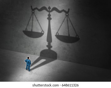 Lawyer concept and attorney symbol or a judge as a person casting a shadow of a justice scale on a wall as a symbol for common law or civil law practice with 3D illustration elements.