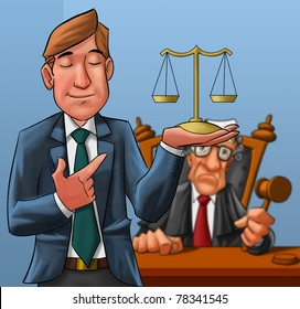lawyer in first plane with a judge in second plane