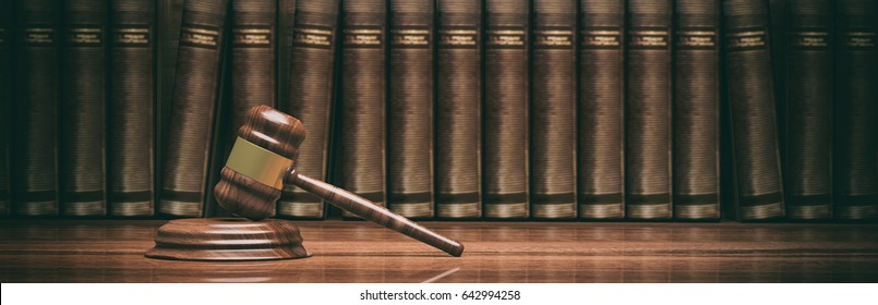 Lawyer office. Judge gavel and law books, banner. 3d illustration