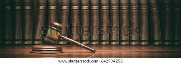 Rechtsanwaltsbüro. Richterin Avel und Rechtsbücher, Banner. 3D-Illustration