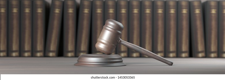 Lawyer office, law school concept. Judge gavel and law books, banner. 3d illustration