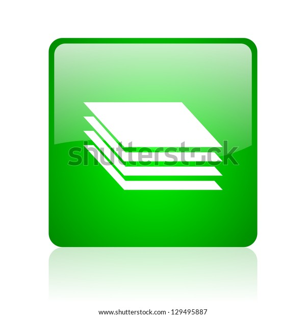 layers green square web icon on white background