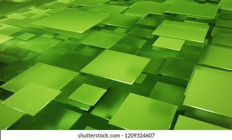 Layers of green squares and particles. Abstract geometric background. 3D rendering