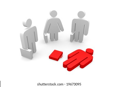 a laying business pictogram in front of standing business pictograms