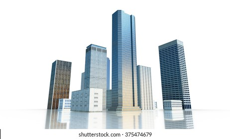 Layout of the business district of the city with skyscrapers and apartment buildings. 3d render.