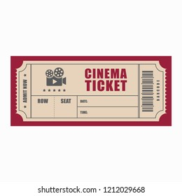 layout of cinema ticket, flat style, realistic template, image