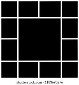 layout for collages; rectangular frames, empty frames