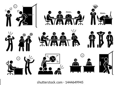 Lazy useless millennials social issue at workplace. Cliparts depicts young generation worker late to work, sleeping during meeting, boastful, irresponsible, leaving early, and feeling entitled.
