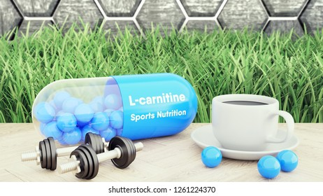 L-carnitine capsule, big pill, Two dumbbells and a cup of coffee. Sport nutrition for bodybuilding 3d illustration