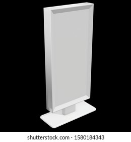 LCD Screen Stand. Blank Trade Show Booth. 3d render of lcd tv on black background. High Resolution. Ad template for your expo design.