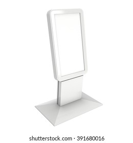 LCD Screen Stand. Blank Trade Show Booth. 3d render of lcd kiosk isolated on white background. High Resolution. Ad template for your expo design.