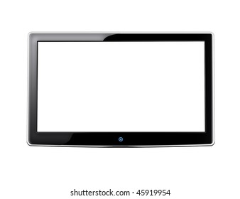 LCD screen TV with white background and place for your image