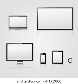 lcd tv screen, computer monitor, laptop, digital tablet, smart watch and mobile phone with blank screen
