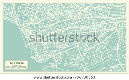 Royalty Free Stock Illustration Of Le Havre France City Map Retro