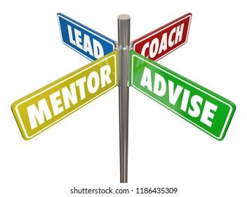 Lead Coach Mentor Advise Signs 3d Illustration