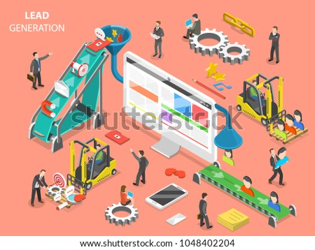 Lead generation flat isometric concept. People are loading digital marketing attributes into a funnel from one side and getting a new leads from other side.