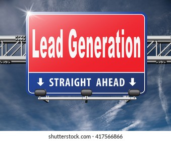 Lead generation, internet marketing for online market and commerce sales, road sign billboard.
