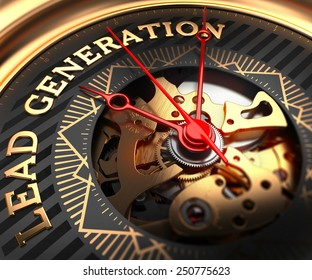 Lead Generation on Black-Golden Watch Face with Watch Mechanism. Full Frame Closeup.