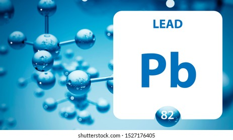 Lead Pb, chemical element sign. 3D rendering isolated on white background. Lead chemical 82 element for science experiments in classroom science camp laboratory. laboratory, science concept