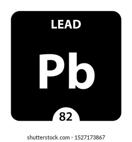 Lead symbol. Sign Lead with atomic number and atomic weight. Pb Chemical element of the periodic table on a glossy white background. Experiments in the laboratory. science ant technology concept