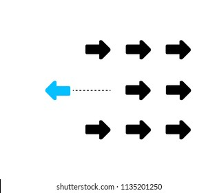 leader arrow against the current. business concept. illustration design graphic isolated over white