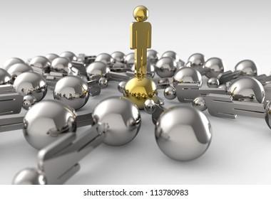 Leader of competition. Concept. 3d illustration