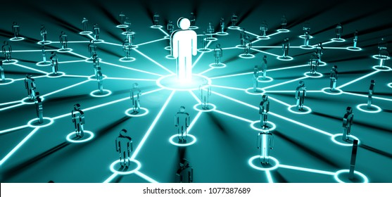 Leader connecting a group of people on dark background 3D rendering