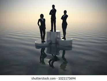 Leader of Executives on Winners podium at sea at dawn as 3d rendering. A leader of executive challengers standing on winners podium in silhouettes at dawn on an ocean.