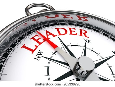 leader red word on concept compass isolated on white background