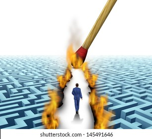Leader Solutions with a businessman walking through a complicated maze opened up by flames and fire lit by a match as a business concept of innovative thinking for financial success.