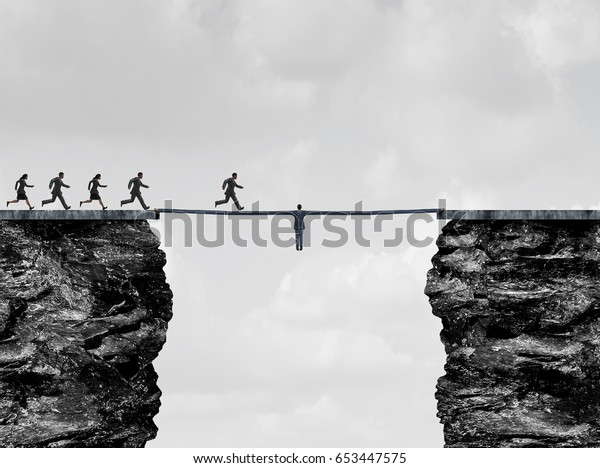 Leadership bridge business success concept as a leader businessman with stretched arms creating a path and helping hand to succeed as a financial team strong support with 3D illustration elements.