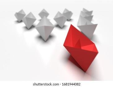 리더십과 비즈니스 개념한 빨간 선반이 다른 회색 함선들을 앞질러3d 렌더링