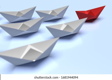 Leadership and business concept. One red leader ship leads other grey ships forward. 3d render