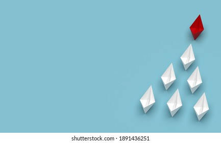 Leadership and business concept. Red leader ship leads other ships forward with blank background. 3d rendering