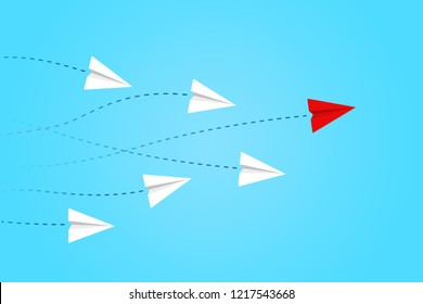 Leadership and competition concept, with red paper plane leading among white.
