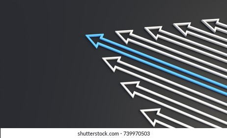 Leadership concept, blue leader arrow leading whites. 3D Rendering