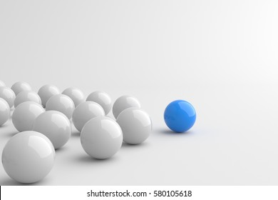 Leadership concept, blue leader ball leading whites. 3D Rendering