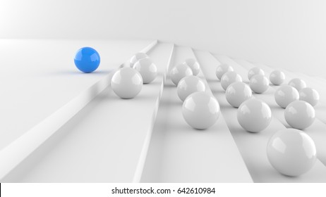 Leadership concept, blue leader ball, standing out from the crowd of whites. 3D Rendering