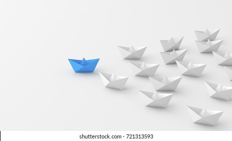 Leadership concept, blue leader boat leading whites. 3D Rendering