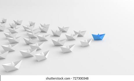 Leadership concept, blue leader boat leading whites. 3D Rendering