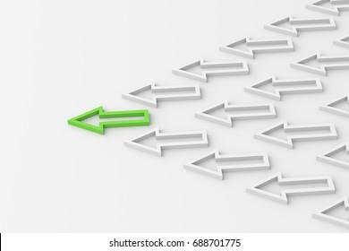 Leadership concept, green leader arrow leading whites. 3D Rendering