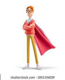 Leadership concept. Nerd Larry is a superhero. 3d illustration.