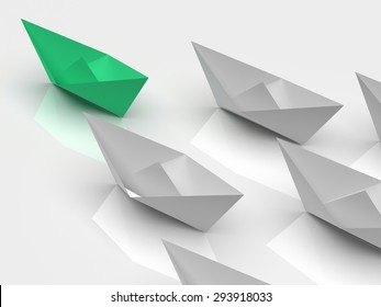 Leadership concept. One green leader ship leads other white ships forward