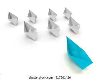 Leadership concept. One  leader ship leads other white ships forward