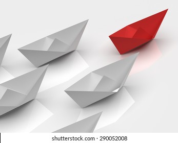 Leadership concept. One red leader ship leads other white ships forward