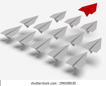 Leadership concept. One red leader plane leads other grey planes forward