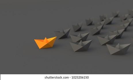 Leadership concept, orange leader boat leading blacks. 3D Rendering