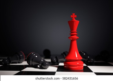 Leadership concept with red king and black pawns in black background. 3d rendering. Illustration. Red wins