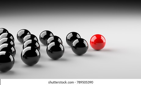 Leadership concept, red leader ball leading blacks. 3D Rendering