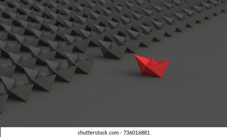 Leadership concept, red leader boat, standing out from the crowd of blacks. 3D Rendering